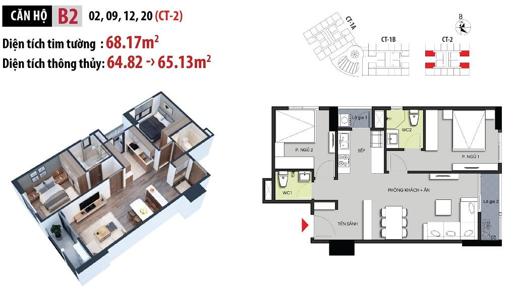 Mặt bằng căn hộ B2 tòa CT2