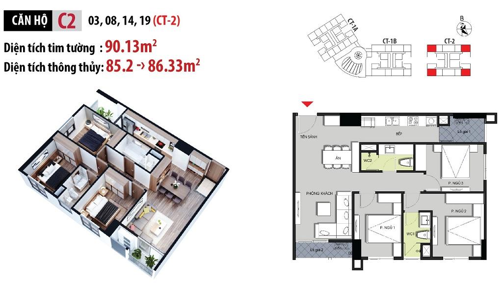 Mặt bằng căn hộ C2 căn góc 3PN với DT 90m2 tòa CT2
